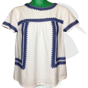 Forever 21 Semi Crop Top Linen Embroidered